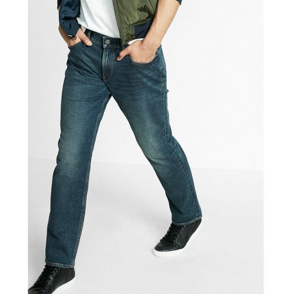 Express Loose Straight Dark Wash Stretch Jeans ($80) ❤ liked on Polyvore featuring men's fashion, men's clothing, men's jeans, blue, mens blue jeans, mens dark wash jeans, mens straight jeans, express mens jeans and mens stretch jeans
