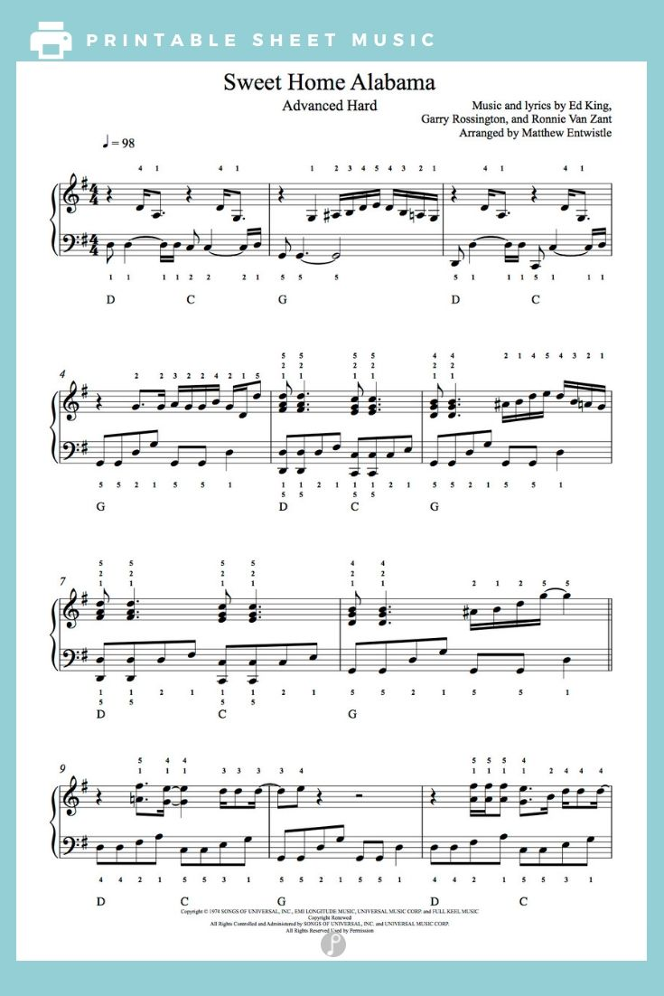 Sweet Home Alabama By Lynyrd Skynyrd Piano Sheet Music