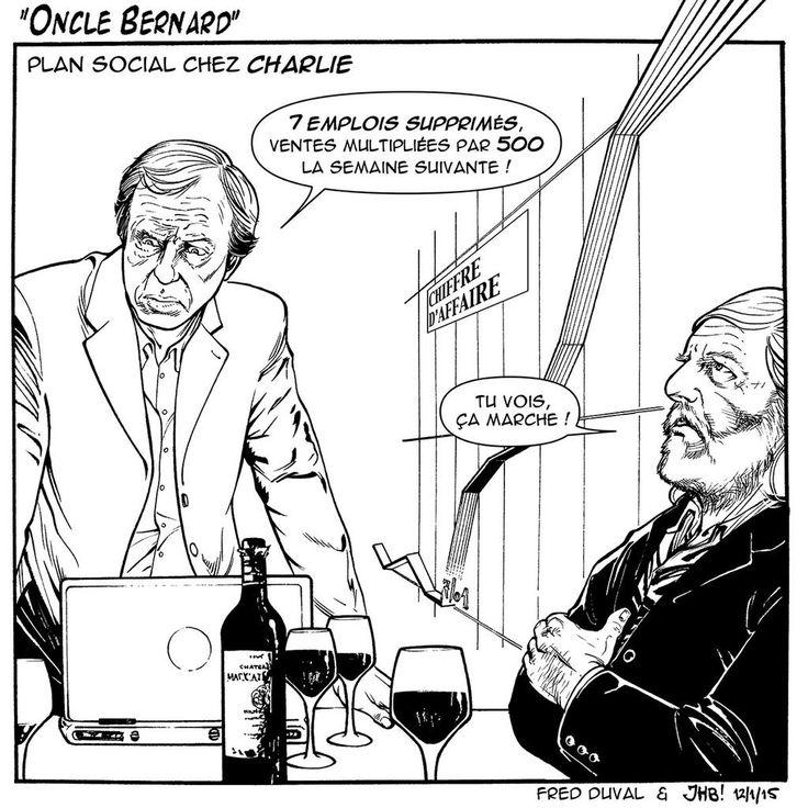 """""""Hommage à Oncle Bernard dans @tendanceouest demain avec l'aide précieuse de Fred Duval #JeSuisCharlie"""""""