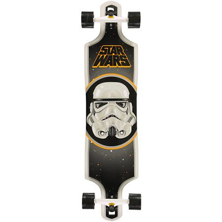 """Hit turns harder and sharper in the wheel-bite proof Santa Cruz x Star Wars Stormtrooper 40"""" Longboard Complete. Rip on the drop-through shape with a Stormtrooper face graphic and Star Wars logo top graphic on 8"""" reverse mounted Road Rider trucks and 72mm"""