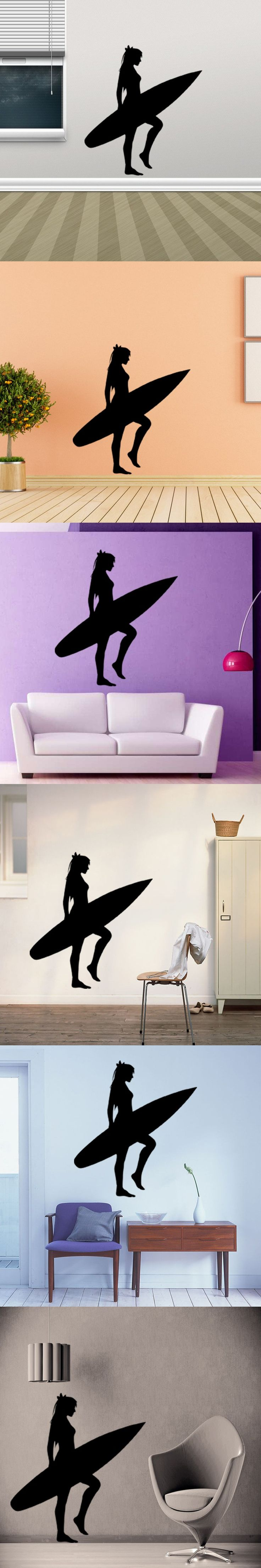 Best 25 girls surf room ideas on pinterest surfer girl rooms yc2024 europe personality beach surf girls wall sticker home decor carved stickers adesivo de parede hand living room bedroom amipublicfo Gallery