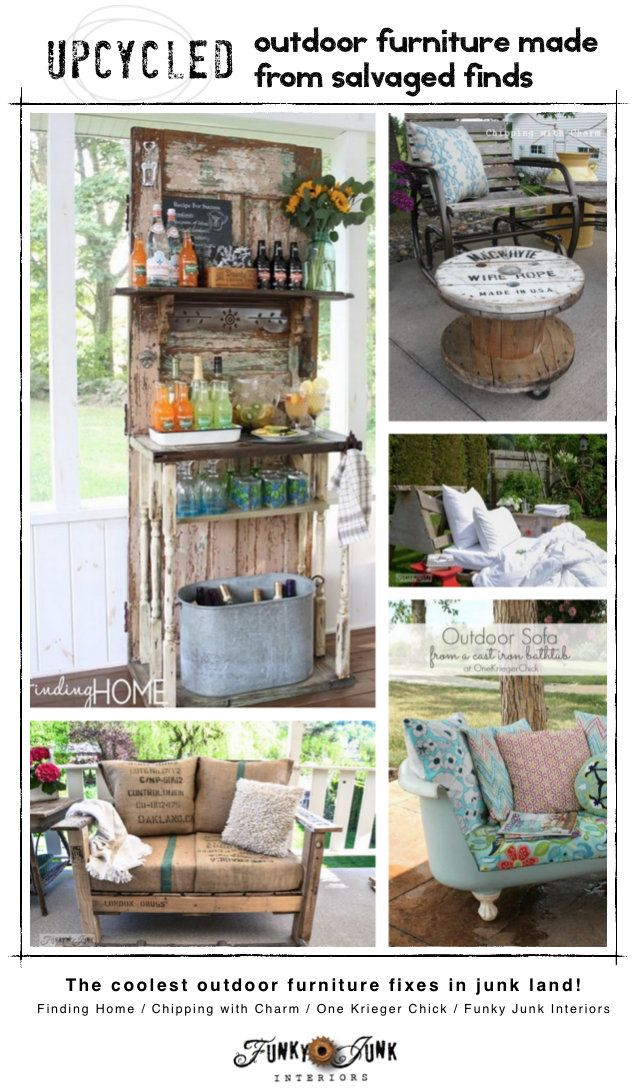 Upcycled outdoor furniture from salvaged finds / creative features and a themed link party via FunkyJunkInteriors.net