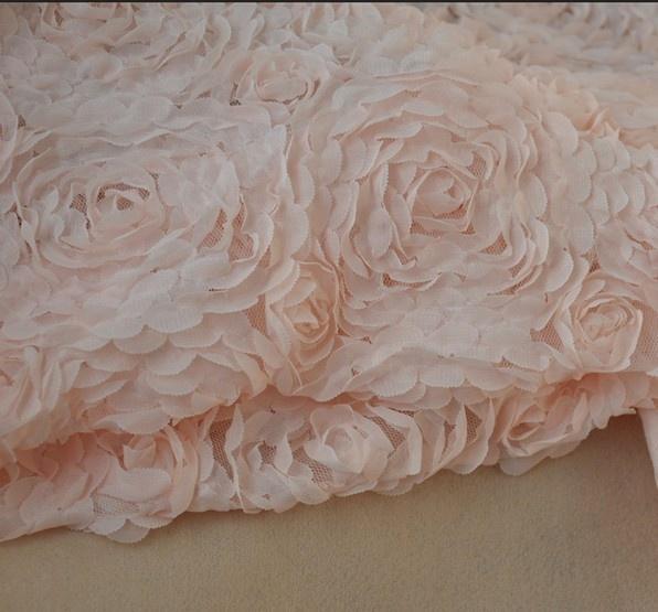3D-rosa Blumen-Chiffon-Stoff in 130cm breit
