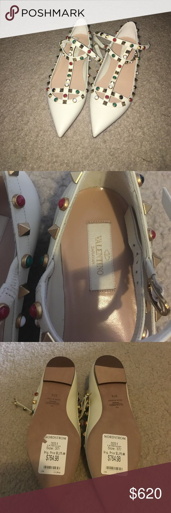 Beautiful Valentino rock stud flats Beautiful Valentino rock stud flats in cream color , 100% authentic, size 37.5, bought from Nordstrom on sale for 764 + tax, comes in a box and dust bag Valentino Shoes Flats & Loafers