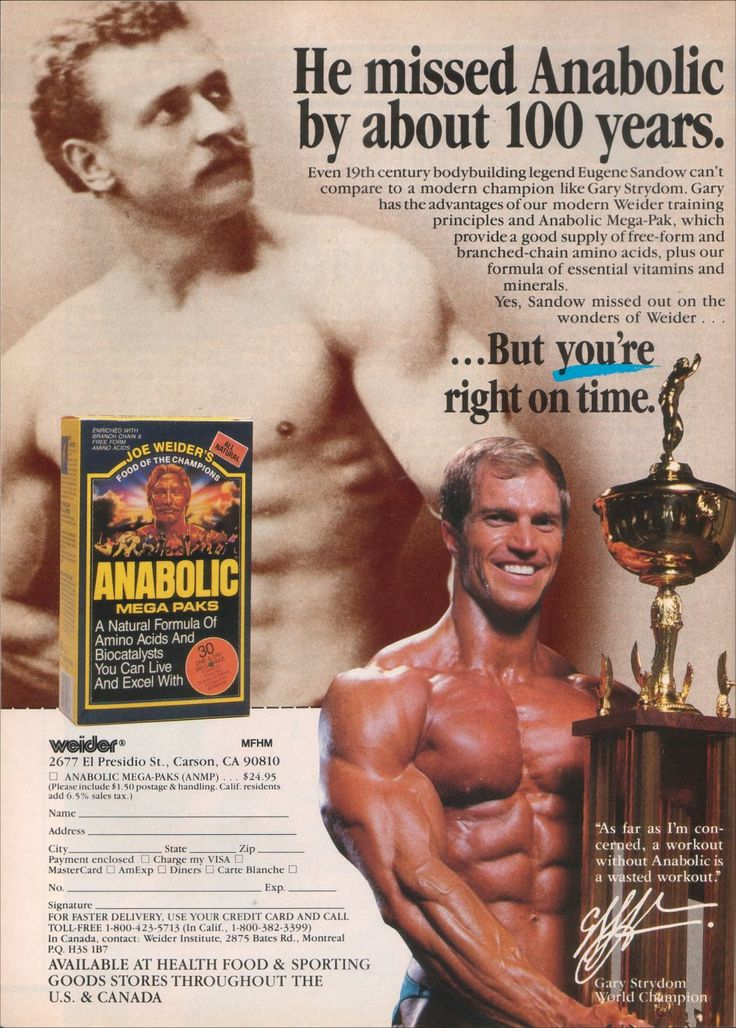 Old ad for Joe Weider's Anabolic Mega Paks supplements