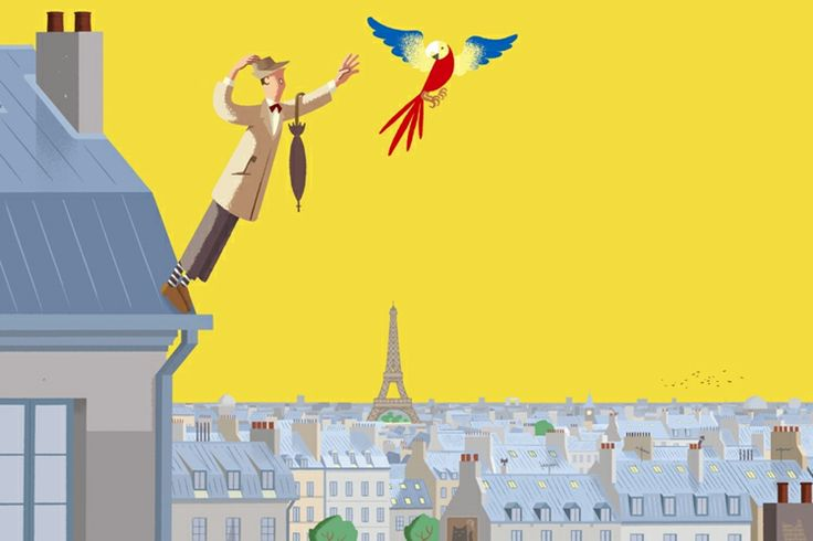"""David Merveille illustration for """"Le Jacquot de Monsieur Hulot""""."""