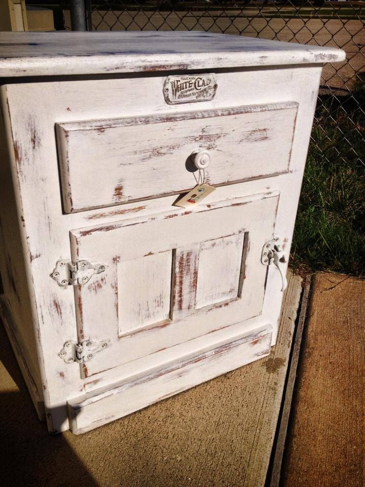 Chalk Paint Icebox | White Clad Ice Box   Refinished In CeCe Caldwell  Simply White.