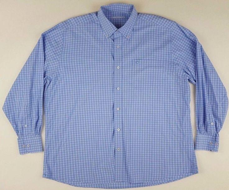 SOUTHERN Tide XL Shirt MENS Checked WINDOWPANE Blue WHITE Oxford COTTON Blend SZ #SouthernTide