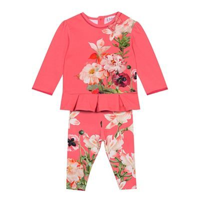 Baker by Ted Baker Baby girls' pink floral top and leggings set
