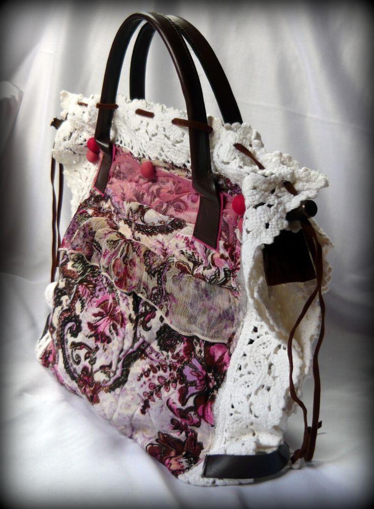 Handmade by Judy Majoros - Crochet handbag. Recycled bag. pink-white