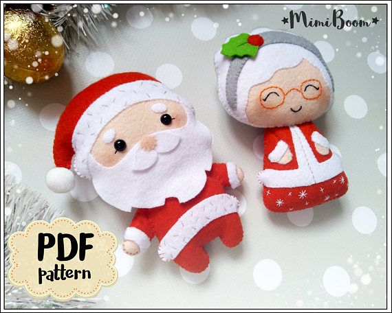 This is a digital tutorial on how to make Santa Claus and Mrs Claus Christmas ornament from felt Included step by step instructions, pictures and full size pattern pieces. (no need to enlarge or resize). Its completely hand sew and you dont need a sewing machine. THIS IS NOT A FINISHED