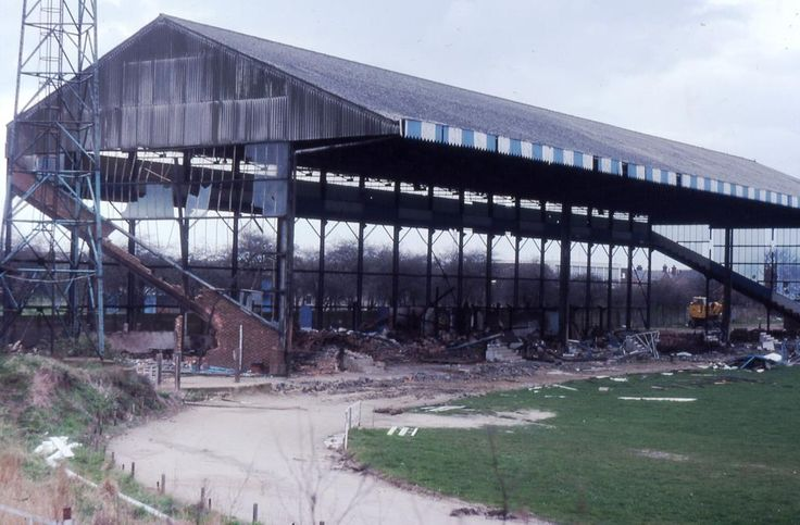 Sad scene at The Eyrie, Bedford Town's stand being pulled down in 1983. Pic Bob Lilliman.