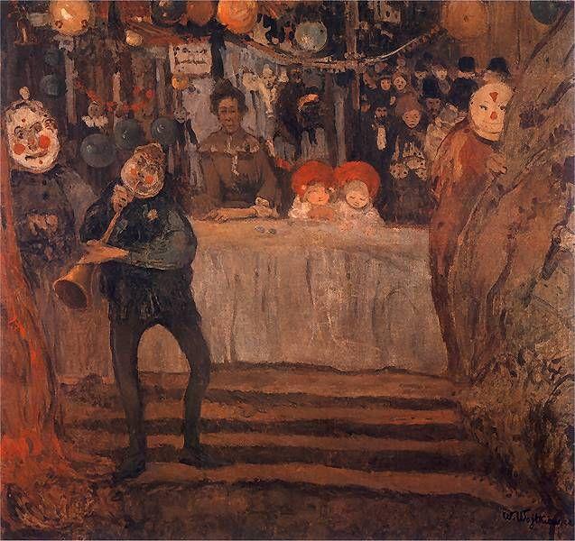 Cyrk II (Przed teatrzykiem).  1906-07. Olej na płótnie. 99,5 x 105,5 cm.  Muzeum Narodowe, Warszawa.    http://www.pinakoteka.zascianek.pl/Wojtkiewicz/Images/Cyrk_2.jpg