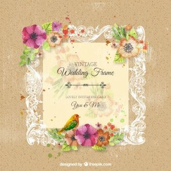 Vintage ornamental wedding frame with flowers
