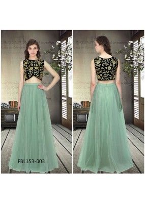 Bollywood Replica - Party Wear Turquoise Crop Top Lehenga - FBL153-003