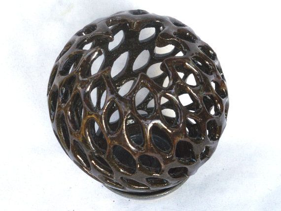 Brown Candle Pot with Wind Blown Leaf Motif by BornofFireCeramics, $90.00