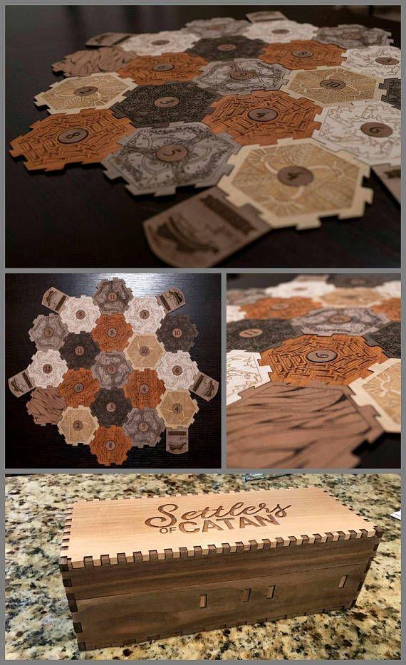 Settlers of Catan Board, Settlers of Catan Wood, Settlers of Catan Hex, Wood Settlers of Catan, Settlers of Catan Pieces, Wood Game Board