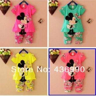 Baby clothing set  Minnie  summer cotton girl set clothing  0~3 years old kid's  set 3 colors free shipping