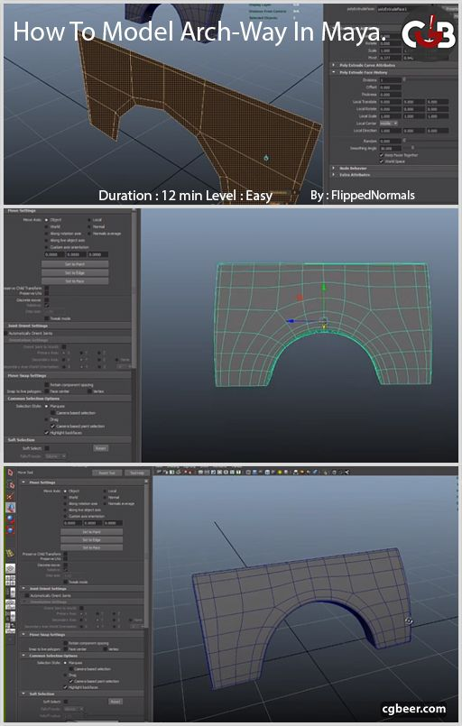 Maya 3D Modeling Fundamentals – Modeling an Arch-Way in 2019