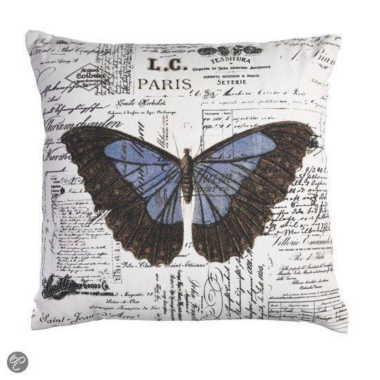KAAT Amsterdam Butterfly - Sierkussen - Blauw - 45x45 cm
