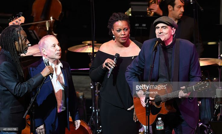 Bobby McFerrin, Paul Simon, Dianne Reeves and James Taylor perform during The Nearness Of You Benefit Concert at Frederick P. Rose Hall, Jazz at Lincoln Center on January 20, 2015 in New York City.