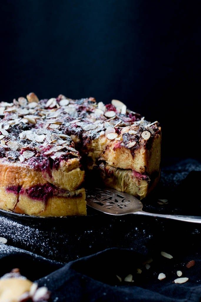 Rhubarb, Raspberry & Dark Chocolate Bread & Butter Pudding Cake | The Brick Kitchen