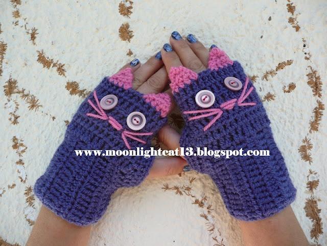crochet cat glowes