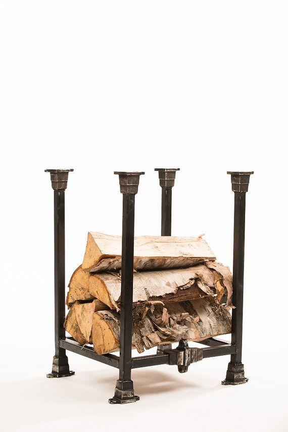 Industrial inspired firewood rack by MagratheaStudio on Etsy