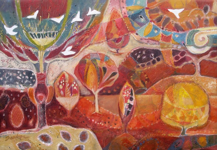 """""""Recollecting the Golden Path"""" by Sandipa - mixed media on canvas, 72 x 102 cm"""