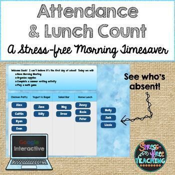 Are you looking for a way to streamline your morning routine?  Try this Google Interactive approach to taking attendance and dealing with lunch count.  It is simple to use.  Display the slide on your whiteboard.  As students come into the classroom they c