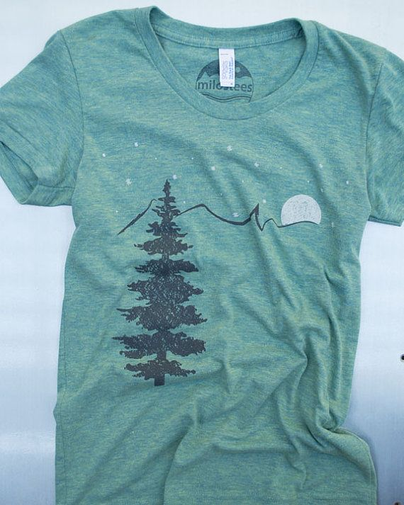 Mountain tshirt, tri blend american apparel,  tree, mountain, moon, stars.  size: s,m, l, xl