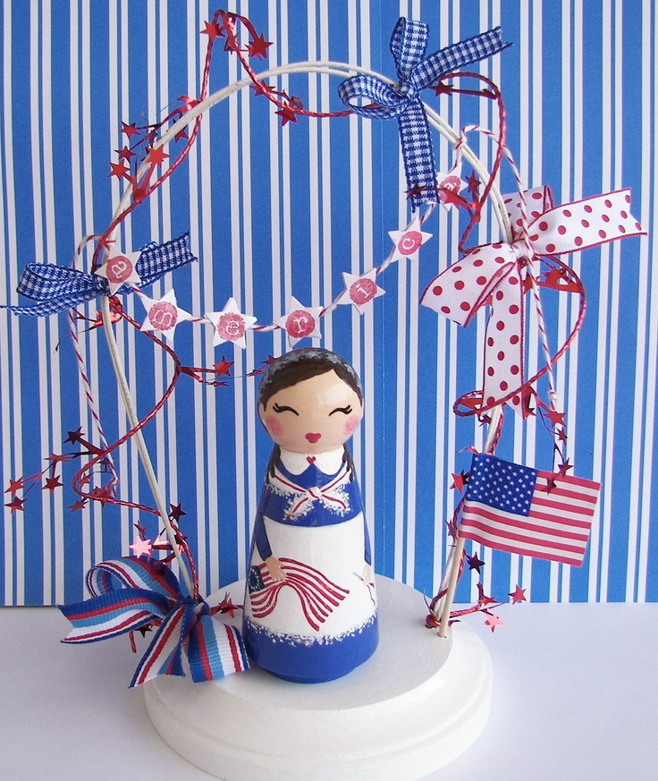 Hand Painted Betsy Ross Peg Doll