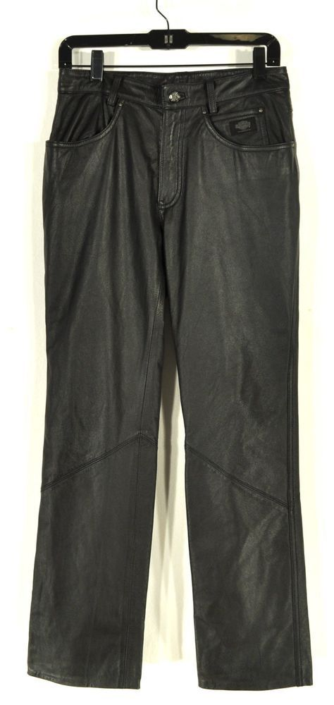 #HarleyDavidson #Motorcycle Riding Pants Black Leather Women's US Size 6 Hemmed #ShopClaudias $50.00