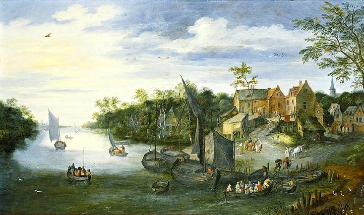 Jan Brueghel de Jonge (1601-1678) Oversteekplaats bij rivier