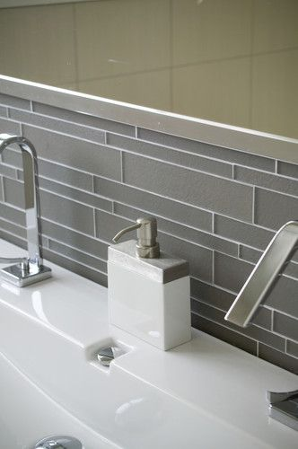 Island Stone Smoke Linear Glass Bathroom modern bathroom tile--dislike glass, want ceramic tile with three different rectangular tiles.