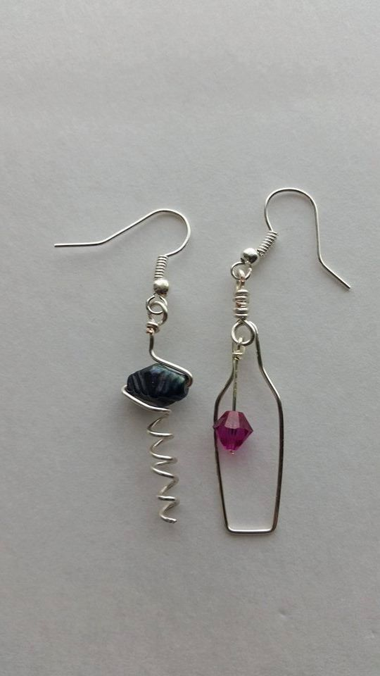 Wine bottle and cork screw earrings. These earrings are wire wrapped with silver artistic wire. They are an entirely handmade item and no two are