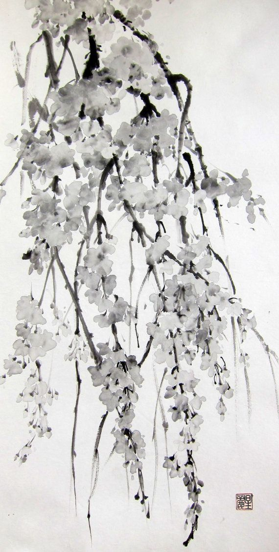 Sakura Cherry Blossoms Ink painting Japanese brush by Suibokuga, €58.00