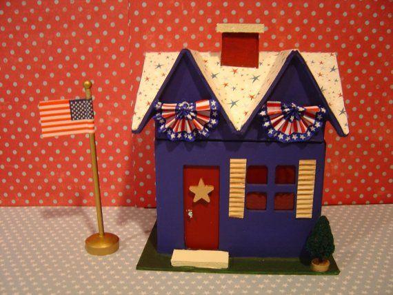 Patriotic Paper Mache 7 Inch House By Thesaltboxcollection