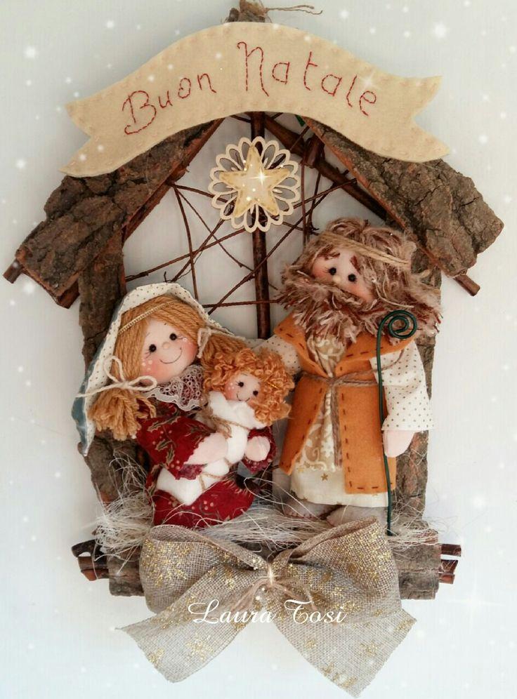 La Sacra Famiglia by Laura Tosi www.facebook.com/fattoconamorelaura #cucitocreativo #cucitoamano #feltro #handmade #creativemamy #natale #christmas #ghirlanda #fuoriporta