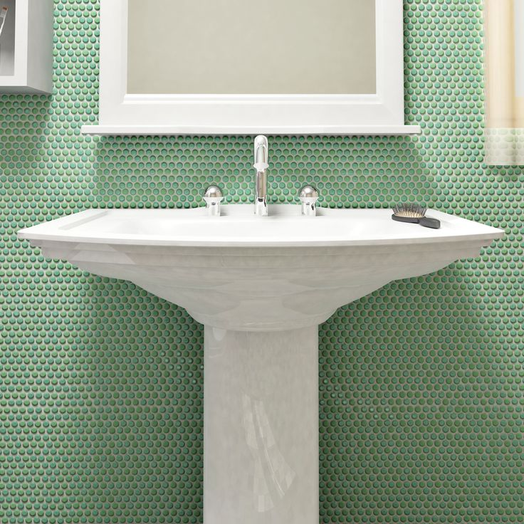 Accent Youre By Installing This Elegant Merola Tile Hudson Penny Round Grey Eye Porcelain Mosaic Tile