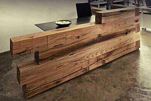 design recepce, dřevěný bar, design pult, trámový nábytek, industriální nabytek, moderní nabytek – BSmarket.cz
