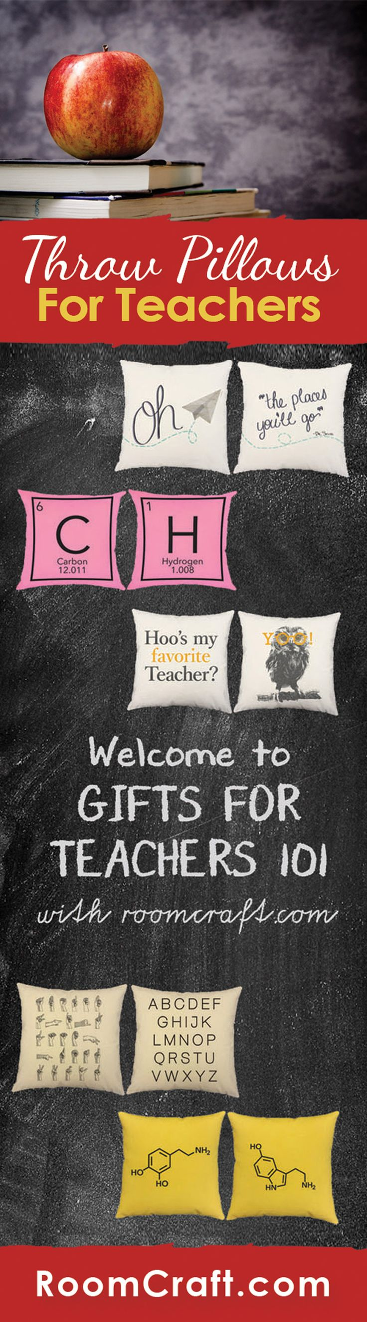 Whether you are decorating your own class or looking for a gift for your teacher or professor, these educational throw pillows are perfect. Each scholastic design is offered in multiple fabrics, sizes, and colors making them perfect for any room in your home, office or classroom. Our quality pillow covers are made to order in the USA and feature 3 wooden buttons on the back for closure. Choose your favorite and create a truly unique pillow set. #roomcraft