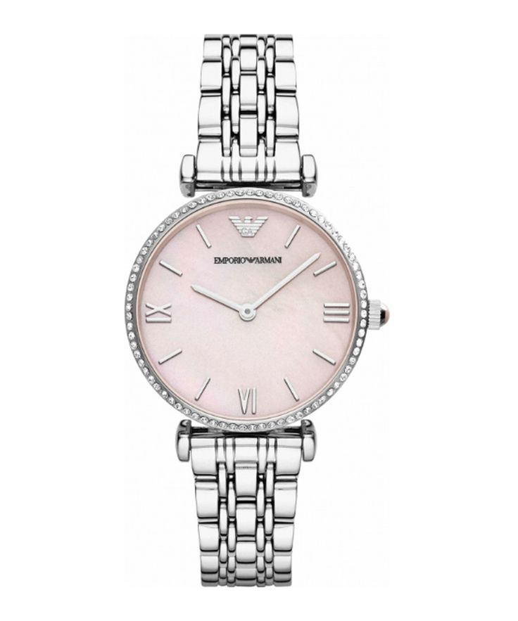 Silver-tone & pink stainless steel watch Sale - Emporio Armani