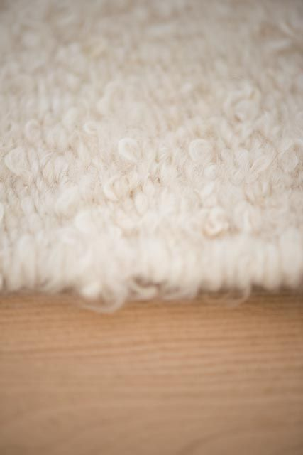 white uncombed mohair - rug palette for www.coralandhive.com rugs - very delicate but hard wearing and extremely luxurious. #whiterug #mohair #woolrugs - handspun and handwoven.
