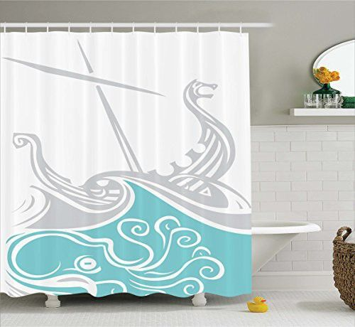 Kraken Decor Shower Curtain by Ambesonne, Viking Longship Sailing into the Waves with Scandinavian Shields Retro Display, Fabric Bathroom Decor Set with Hooks, 75 Inches Long, Turquoise Grey