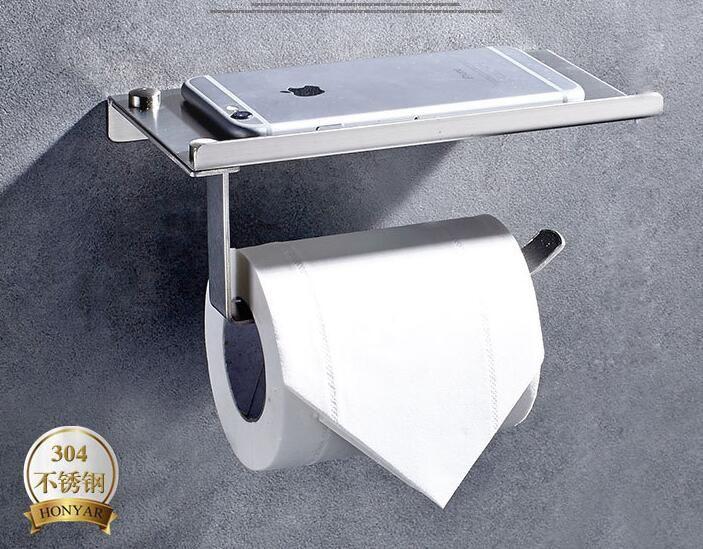 Roestvrij Badkamer Toiletrolhouder met Telefoon Rack