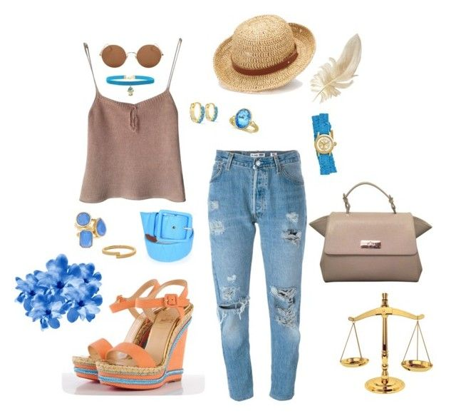 """Summer Nuances"" by isabell-zanoletti on Polyvore featuring moda, Donna Karan, Levi's, Christian Louboutin, Giorgio Armani, Chaps, Sunday Somewhere, Alena Akhmadullina, Rock 'N Rose e Vince Camuto"