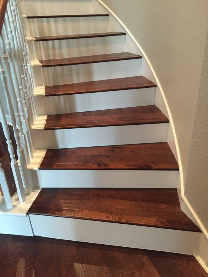 Birch Color Coffee Installed On Staircase With White   Wood Stairs With White Risers