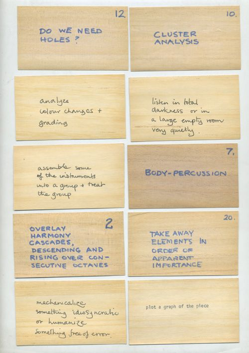 Oblique Strategies: Brian Eno's Prompts for Overcoming Creative Block, Inspired by John Cage | Brain Pickings