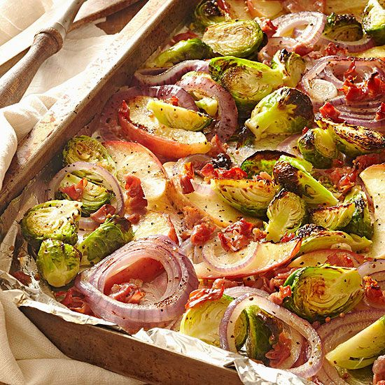 Yum! We'd love plate of these Roasted Brussels Sprouts with Apple and Pancetta. More healthy greens recipes: http://www.bhg.com/recipes/healthy/dinner/healthy-green-side-dishes/?socsrc=bhgpin022713roastedveggies=3